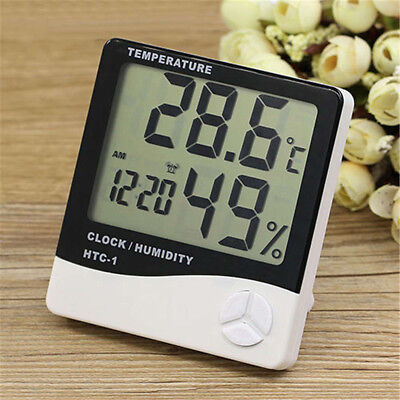 Humidity Thermometer - LCD Temperature Humidity Weather Meter Hygrometer Room Indoor Thermometer Clock