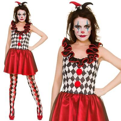Adult Ladies Harlequin Jester Circus Halloween Fancy Dress Costume Outfit UK 6-2 ()