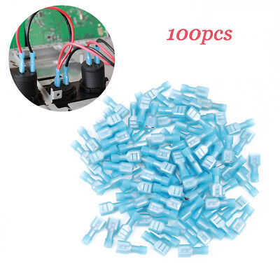 100x Nylon Insulated Electrical Crimp Wiring Terminals Connectors Spade New