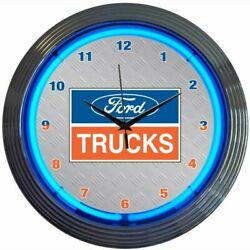 Ford Trucks Logo Blue Neon Hanging White Gray Clock 15 Diameter 8FTRUC