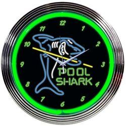 Pool Shark ManCave Neon Clock 15x15