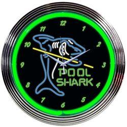 Pool Shark ManCave Neon Clock 15x15