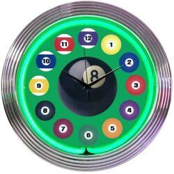 Billiard Ball Green Mancave Neon Clock 15x15