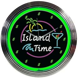 Island Time Neon Clock 15x15 8ITIME