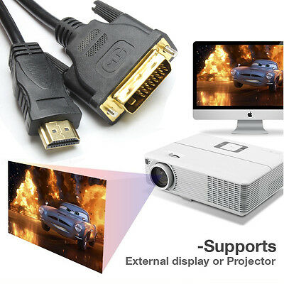 DVI Male to HDMI Male Cable CableCreation  Bi-directional HD