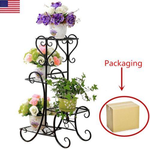 Metal Flower Pot Rack Plant Display Stand Shelf Holder Garde