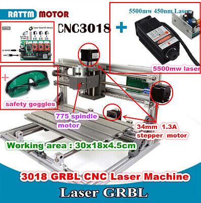 3 Axis 3018 5500mw Diy Mini Usb Cnc Router Kit Engraving Milling Laser Machine