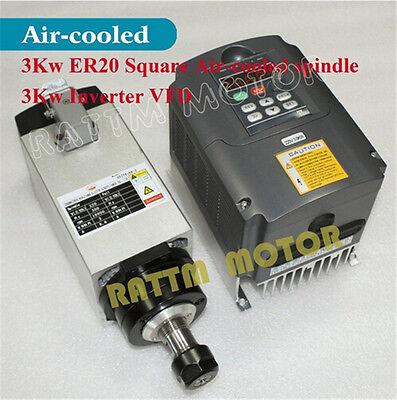 【USA Ship】 Square 3KW Air Cooled Spindle Motor ER20 & 3KW Inverter VFD CNC Kit