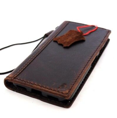 Genuine Vintage Leather Case For Google Pixel Book Cards Wallet Cover Slim Brown