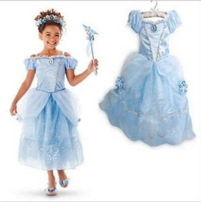Kids Girls Costume  Princess Cinderella Blue Dress size 3/4 T