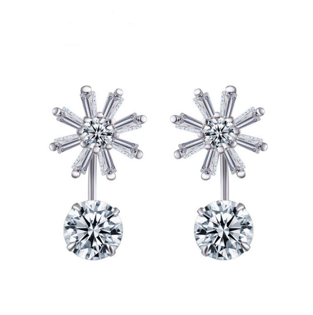 Women Flower Shape Zircon Drop Bridal Wedding 925 Sterling Silver Stud Earrings Earrings
