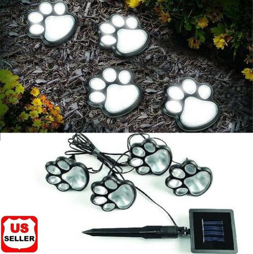 4 Solar Paw Print Lights Dog Path LED Cute Lawn Garden Patio Yard Decor Walkway Home & Garden