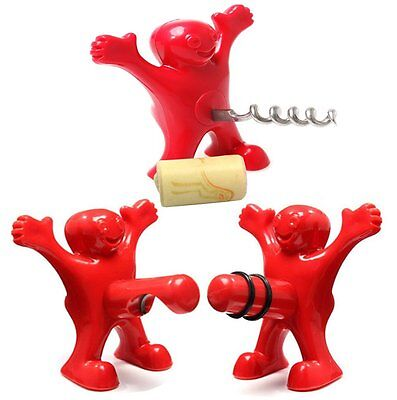 Happy Man Wine Stopper Novelty Beer Corkscrew and Bottle Opener Set of 3