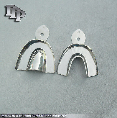 Dental Impression Trays Solid Set Of 2 Pcs Xl Size Surgical Instruments