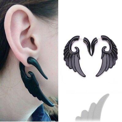 1 Pair Angel Wing Black Earrings Set Fairy Bird Stud Spike Punk Goth Jewelry 2x