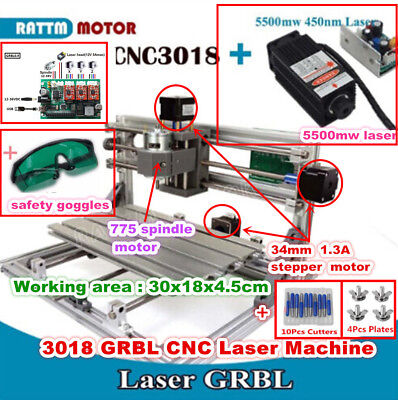 3 Axis Diy Mini 3018 Grbl Control Cnc Router Laser Milling Machine W 5.5w Laser