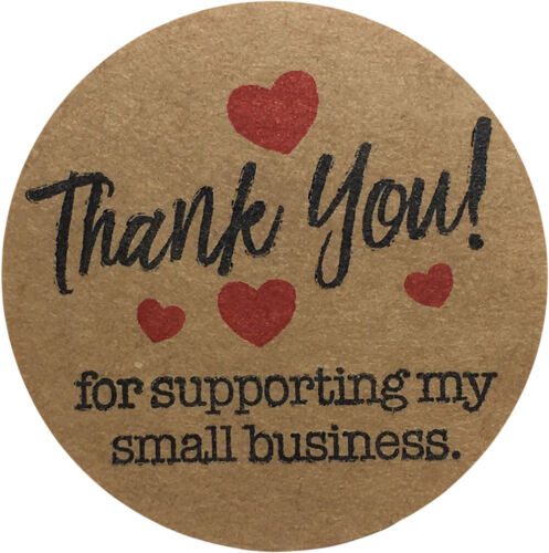 """Thank You For Supporting My Small Business Stickers   1.5"""" Round   500 Pack"""