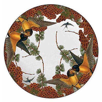 Boston International Caskata Studio Melamine Dinner Plate Pine Birds Fall 4 - Fall Plates