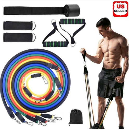 11 PC Resistance Bands Set Pull Rope Gym Home Fitness Workout Crossfit YogaTube Fitness Equipment & Gear