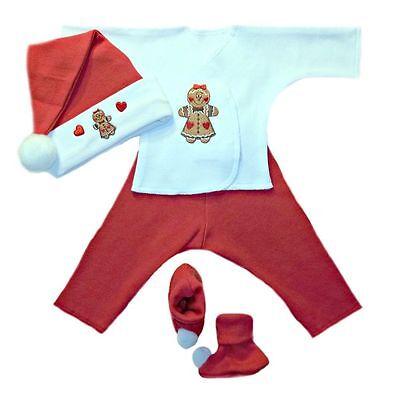 Gingerbread Girl Christmas Baby 4 Piece Clothing - 4 Preemie & Newborn Sizes
