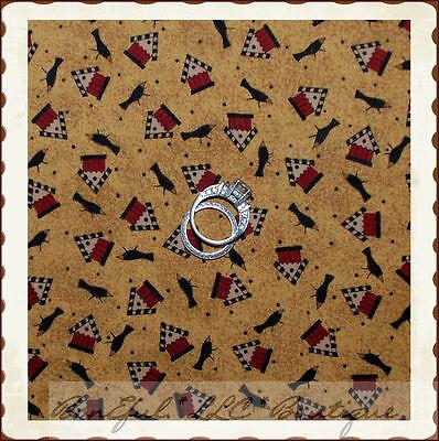 Debbie Mumm Bird - BonEful Fabric FQ Cotton Quilt VTG Debbie Mumm Country Sm Bird House Crow Calico