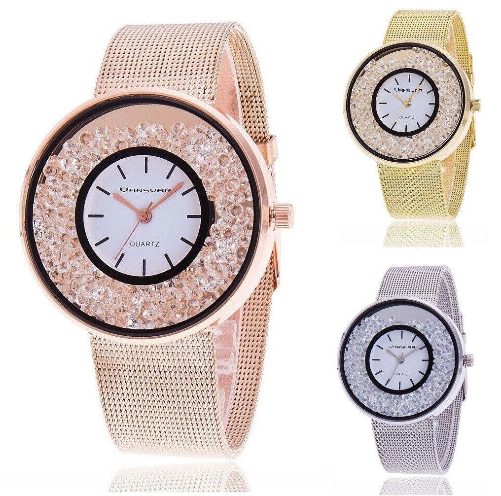 Neue Luxus Armbanduhr Edelstahl Perlen versch. Farben Quarzuhr für Frauen
