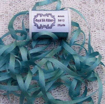 """100%PURE SILK EMBROIDERY RIBBON 1/8""""[4MM] WIDE 25 YARDS TEAL COLOR"""