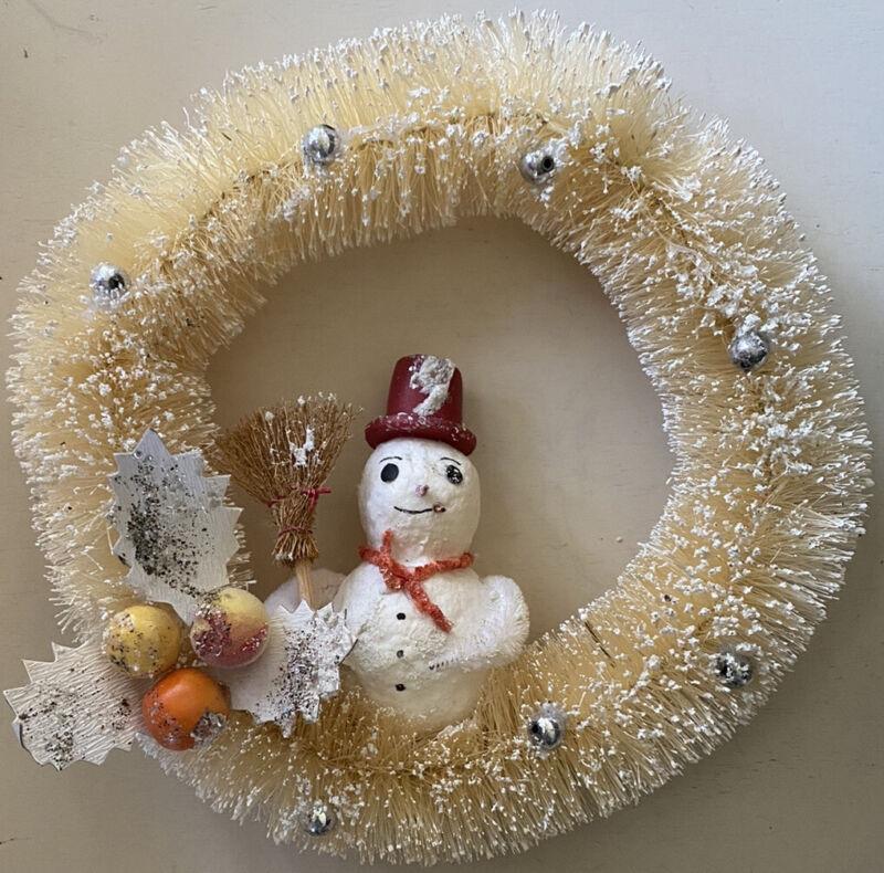 Snowman Winter Wreath by Bruce Elsass for Bethany Lowe Flocked Bottle Brush