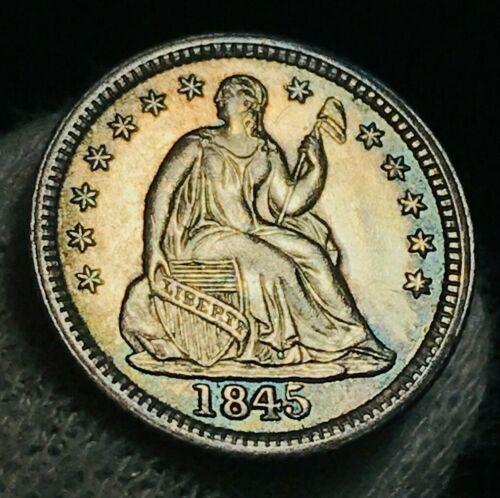 1845 Seated Liberty Half Dime 5C AU-MS High Grade Crain US Silver Coin CC2372