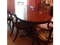 Mahogany Extending Dining Table Chairs, Regency Style
