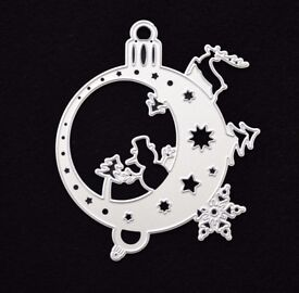 Christmas, Bauble Metal Cutting Die, Snowman, Stencil, Scrapbooking, Card Making