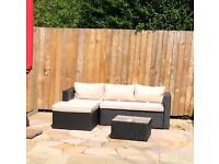 L shaped Rattan effect garden sofa
