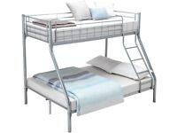 Double Metal Bunk Beds Triple Sleeper Beds for Adult and Childrens - Sliver