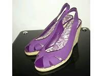 Purple open toe wedges