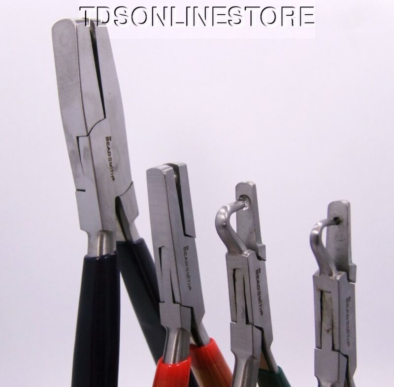 5 Piece Dimple Plier Kit With Flat And Hooked Jaws With Wood Block