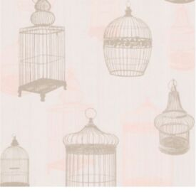 "Brewster Home Fashions Zinc Avian 33' X 20.5"" Bird Cages 3d Embossed Wallpaper T"