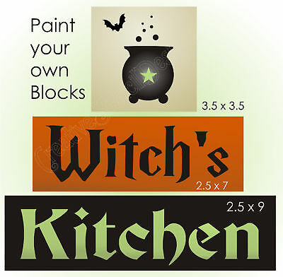Halloween Decorated Kitchens (Joanie Stencil Halloween Decor Witch's Kitchen Boiling Cauldron Bat Signs)