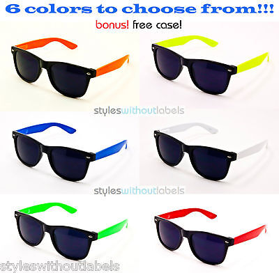 Neon Wayfarer Sunglasses (80S NEON SUMMER COLORS FRAME PARTY SUNGLASSES RETRO DARK SMOKE LENS)