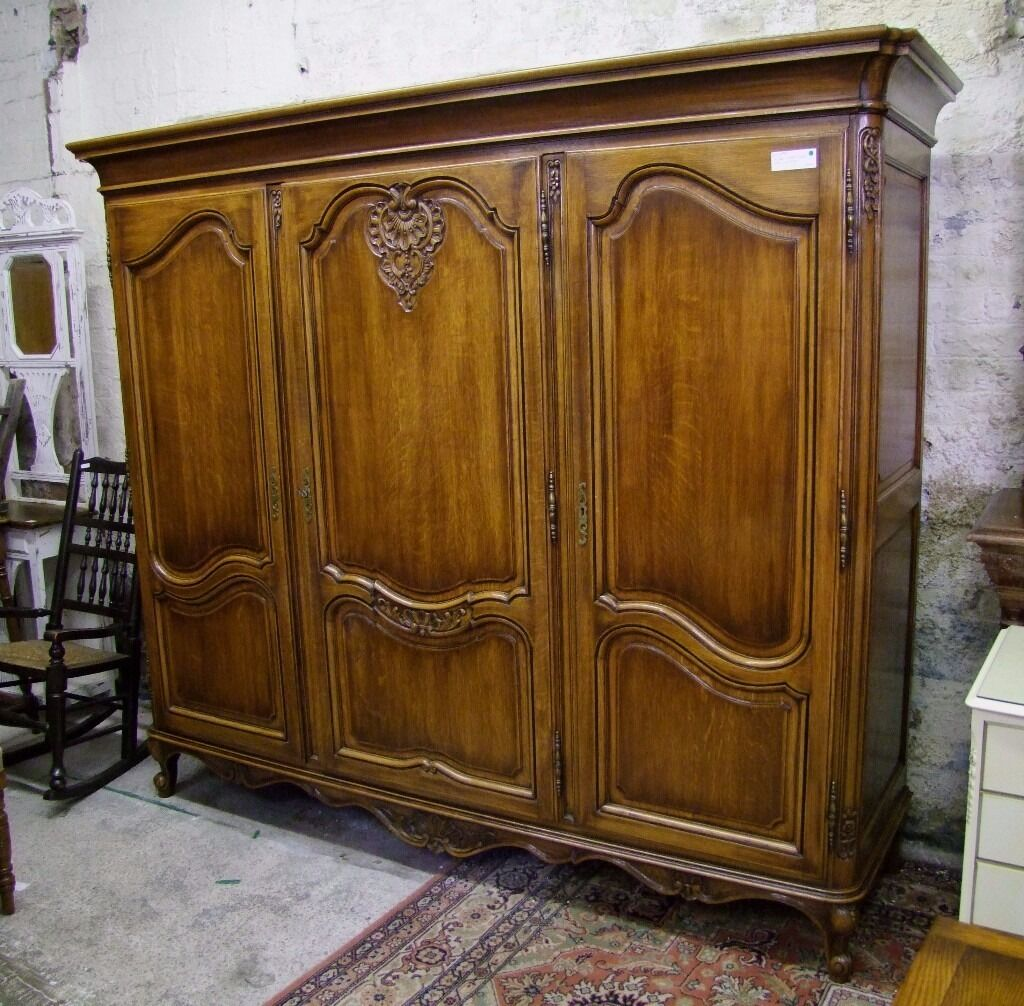 Louis Xv Style Vintage French Carved Oak 3 Door Wardrobe W3dro