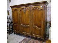 Louis XV Style Vintage French Carved Oak 3 Door Wardrobe - (W3DRO)