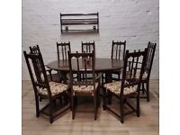 Ercol Extending Dining Table With Eight Chairs (DELIVERY AVAILABLE FOR THIS ITEM OF FURNITURE)