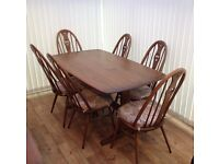 ERCOL 6 FOOT RECTANGULAR DINING ROOM TABLE AND 6 CHAIRS FURNITURE
