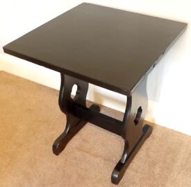 Vintage / Retro Black Square Solid Wooden Hall Table / Coffee Table H29in/74cmW24in/61cmD24in/61cm