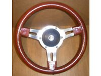 *CAN POST* Vintage Chrome & Brown Leather MOUNTNEY Steering Wheel with MGB Boss + MGB Badge