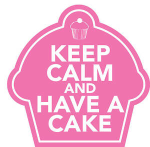 KEEP CALM AND HAVE A CAKE PINK STICKER vintage cupcake 90mm wide