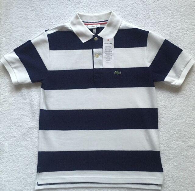 88888207b BNWT Lacoste Boy Navy   White Stripe Polo 12 Years