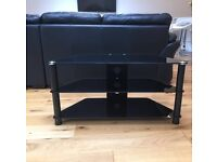 REDUCED TO SELL! - Black glass corner TV stand