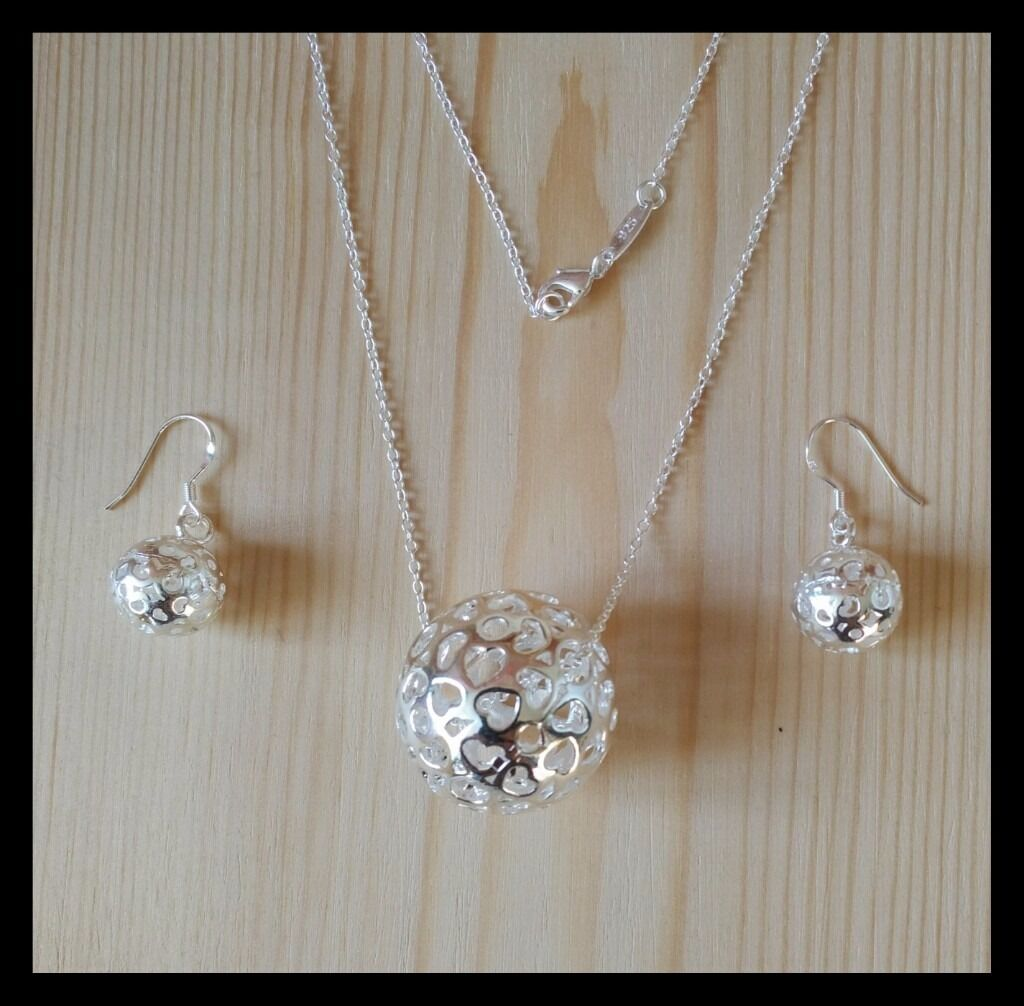 925 Sterling Silver Necklace And Earring Set (Set 4)