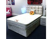 Crush velvet divan bed with headboard and mattress
