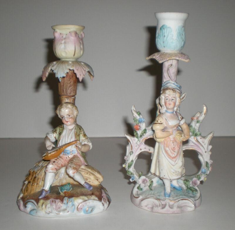 2 Antique Vtg Porcelain Figural Candle Sticks Victorian Continental Ceramic Old